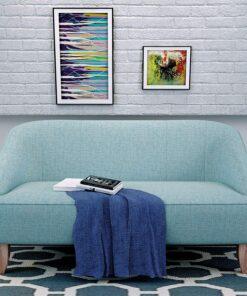 Modern Fabric Loveseat, Light Blue in Nigeria
