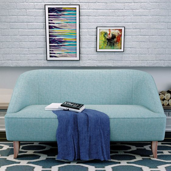 Modern Fabric Loveseat, Light Blue in Nigeria